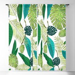 Tropical Green Leaves Blackout Curtain