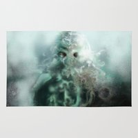 cthulhu Area & Throw Rugs featuring Cthulhu fhtagn by Sandpaperdaisy