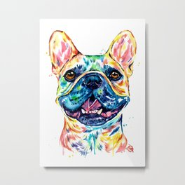 French Bulldog Watercolor Painting By Lisa Whitehouse Metal Print