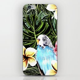 Tropical bird with floral texture iPhone Skin