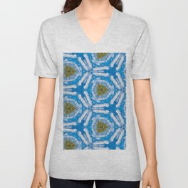 Blue and White Tie Dye Print Unisex V-Neck