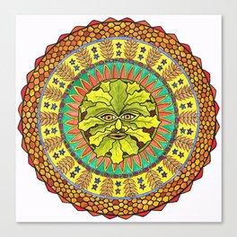 Summer Green Man Mandala Canvas Print