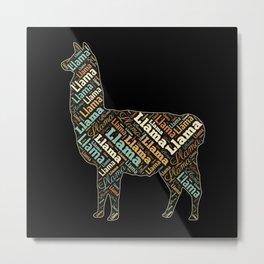 Llama Colorful Word Cloud Metal Print