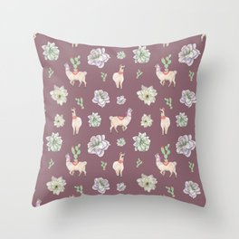 Cute Llamas with Flowers and Cacti (taupe theme) Throw Pillow