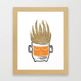 Mustard Yellow Sleepy Succulent Cacti Cactus Lino Print Framed Art Print