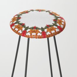 Embroidered Pattern Counter Stool