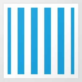 Oktoberfest Bavarian Blue and White Large Cabana Stripes Art Print