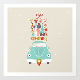 Vintage Mint Christmas Car Art Print