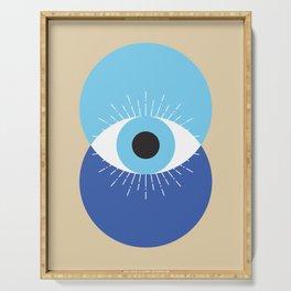 Evil Eye Symbol Mid Century Modern Art 70s Style Serving Tray