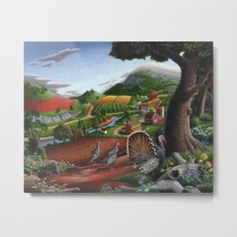 Wild Turkeys, Rural Appalachian Country Life Landscape, Turkey Art Metal Print