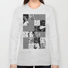 Eclectic Black and White Squares Long Sleeve T-shirt