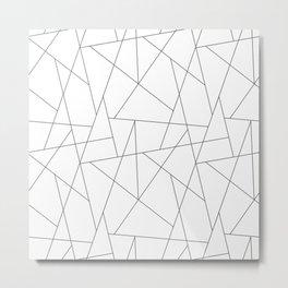 Abstract modern chic minimalist grey white triangles geometric pattern Metal Print