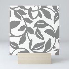 LEAF PALM SWIRL IN GRAY AND WHITE Mini Art Print