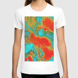 closeup palm leaf texture abstract background in orange blue green T-shirt