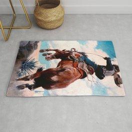 "Vintage Western Painting ""Bucking"" by N C Wyeth Rug"