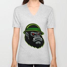 Military Gorilla Head Unisex V-Neck