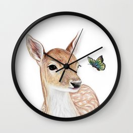 The Deer and the  Butterfly Wall Clock