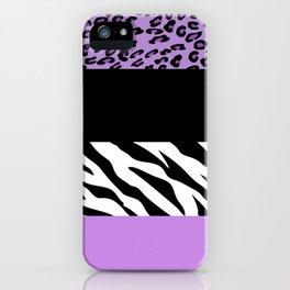 Animal Print, Zebra Stripes, Leopard Spots - Purple iPhone Case