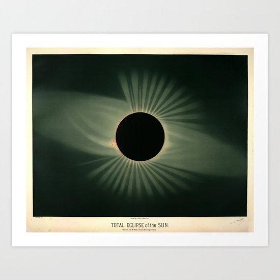 Total solar eclipse by Étienne Léopold Trouvelot (1878) by brainpicker