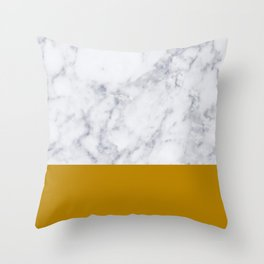 Marble Mustard yellow Color block Throw Pillow