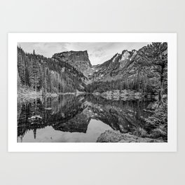 Dream Lake Reflections and Rocky Mountain National Park Landscape - Black and White Art Print