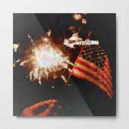 Geometric USA Flag And Firework Metal Print
