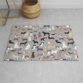 Mixed Dog lots of dogs dog lovers rescue dog art print pattern grey poodle shepherd akita corgi Rug