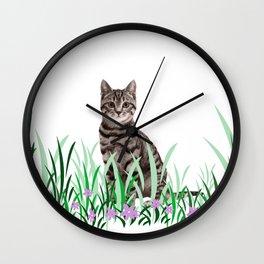 Tiger Cat green Grass with flower Wall Clock