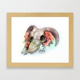 Goat skull & flowers Framed Art Print