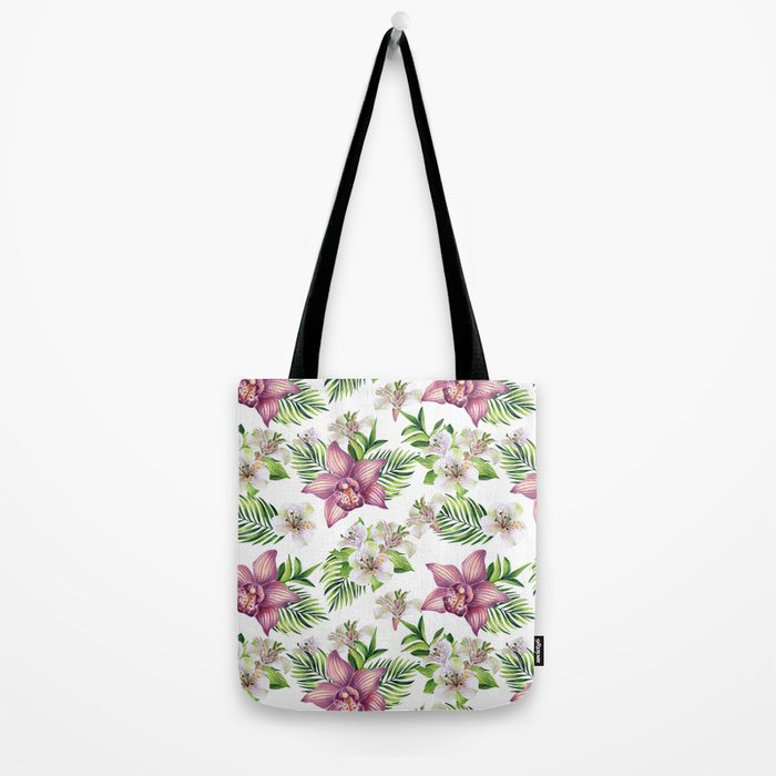 Orchids. White pattern Tote Bag