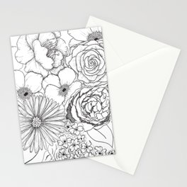 Flower Bouquet Black and White Illustration Stationery Cards