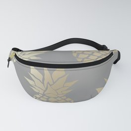 Pineapple Art, Gray and Gold Fanny Pack