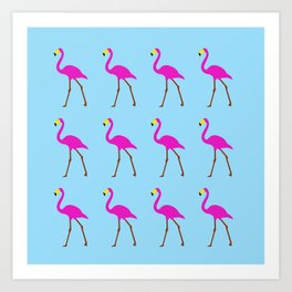 Flamingos in blue Art Print