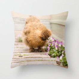 Taking the time to smell the flowers Throw Pillow