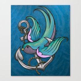 Vintage Tattoo Style Swallow Canvas Print