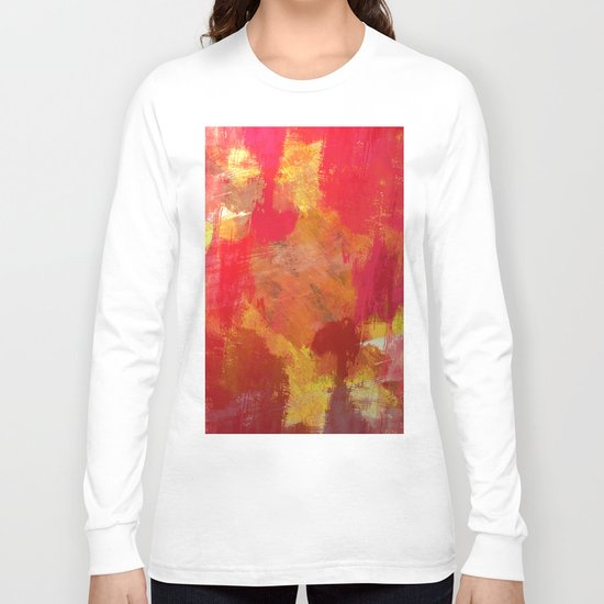 Fight Fire With Fire - Textured Metallic Abstract in red, white, black, orange and yellow Long Sleeve T-shirt