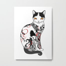 Cat in battling dragon love mates tattoo Metal Print