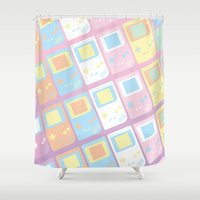 gameboy Shower Curtains featuring Pastel Gameboy Dreams by anthonykun