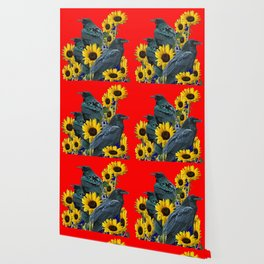 DECORATIVE RED ART SUNFLOWERS & CROW/RAVENS COVEN Wallpaper