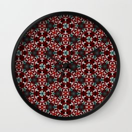 Dark Red and Green Flower Pattern Wall Clock