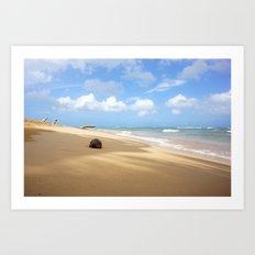 Loquillo Beach Photography - Turquoise Ocean, Blue Sky, Warm Golden Sand Art Print