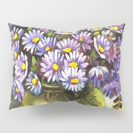 King George Asters In A Metallic Vase Pillow Sham
