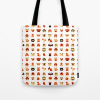snorlax Tote Bags featuring The Boys Are Back In Town by Paperbeatsscissors