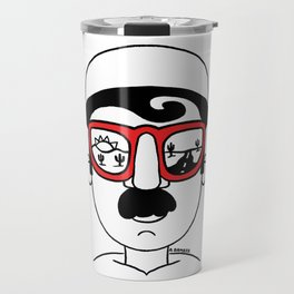 Desert Sunset Dream Views Red Sunglasses Mustache Man Travel Mug