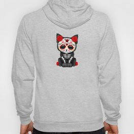 Cute Red Day of the Dead Kitten Cat Hoody
