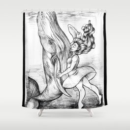Dancing with Whales Shower Curtain