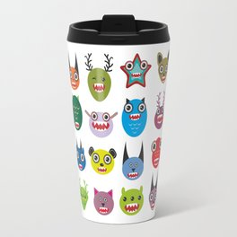 Cute cartoon Monsters Set. Big collection on white background Travel Mug