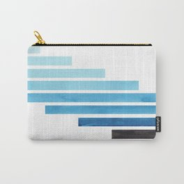 Cerulean Blue Midcentury Modern Minimalist Staggered Stripes Rectangle Geometric Aztec Pattern Water Carry-All Pouch