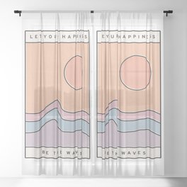 "Ocean Surf ""Let Your Happiness Be the Waves"" // Chill Retro Minimalist Colorful California Summer  Sheer Curtain"