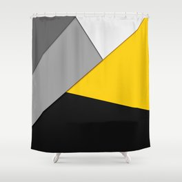 Simple Modern Gray Yellow and Black Geometric Shower Curtain